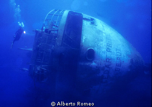 Exploring the wreck of &quot; Cedar Pride&quot; in Gulf of Aqaba. by Alberto Romeo 